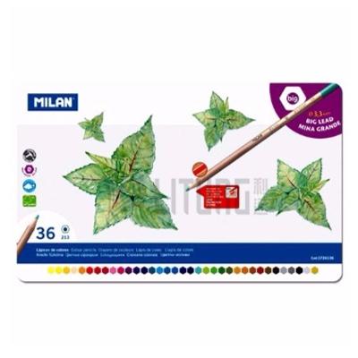 Milan 鐵盒36色六角粗芯防斷木顏色 (附筆刨)