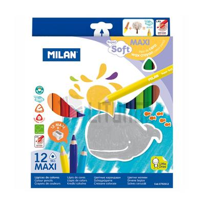 Milan 12色三角特粗蠟筆芯木桿顏色筆(附筆刨)