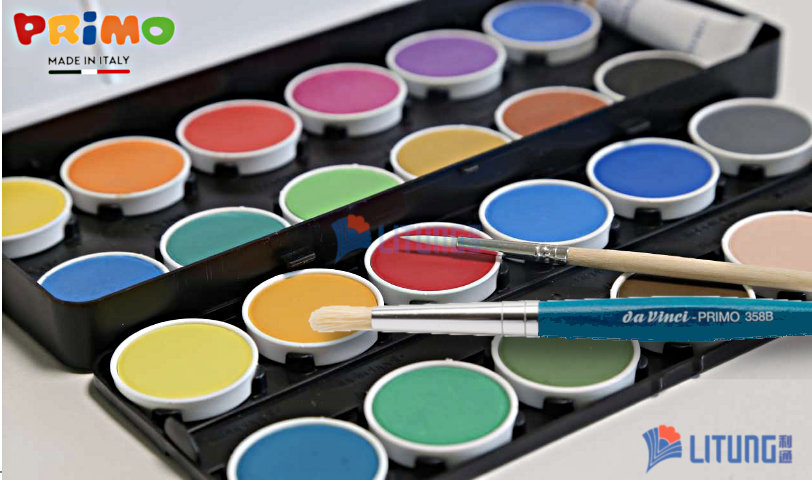 Primo 134A24MGM Watercolour Tablets with Brushes Close up LTLogo 812x480