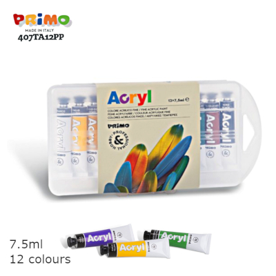 Primo 407TA12PP 12 Colors Acrylic Paint 7.5mlw Closed wS LTLogo 400x400