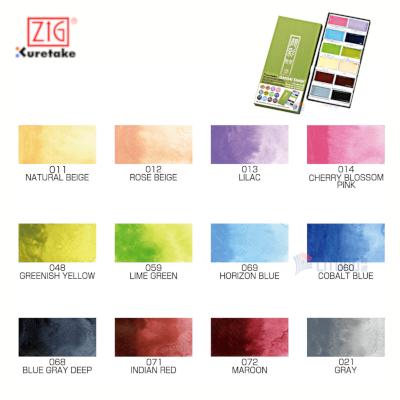 ZIG MC2012VNW web B Kuretake Gansai Tambi 12 colors chart 400x400