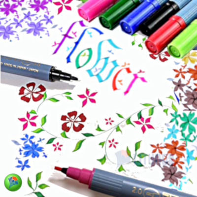 ZIG TC3100V12 web F Calligraphy II Marker Flower Drawing LTLogo (NR) 400x400